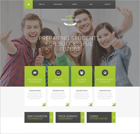 high school education psd template