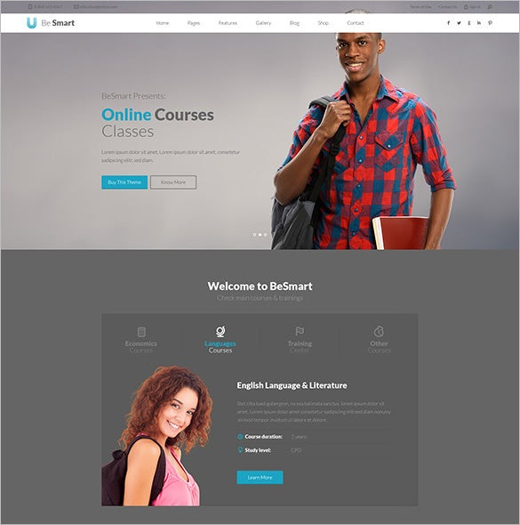 education courses psd template