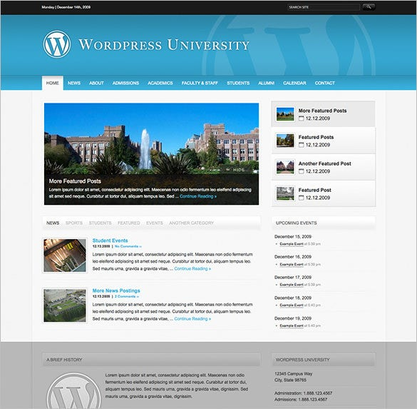 education psd template for university