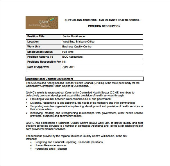 Senior Accountant Job Description Samples