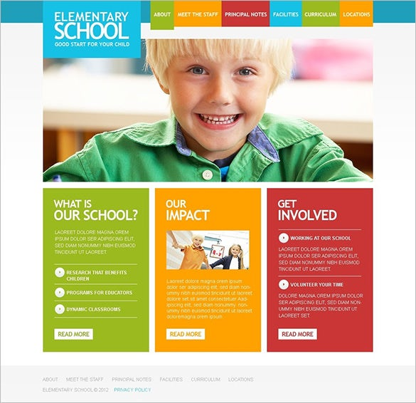education psd template for elementary school