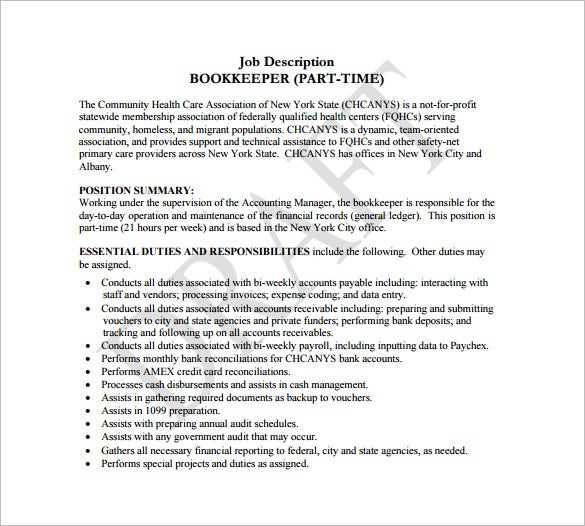 part time book keeper job description free pdf download