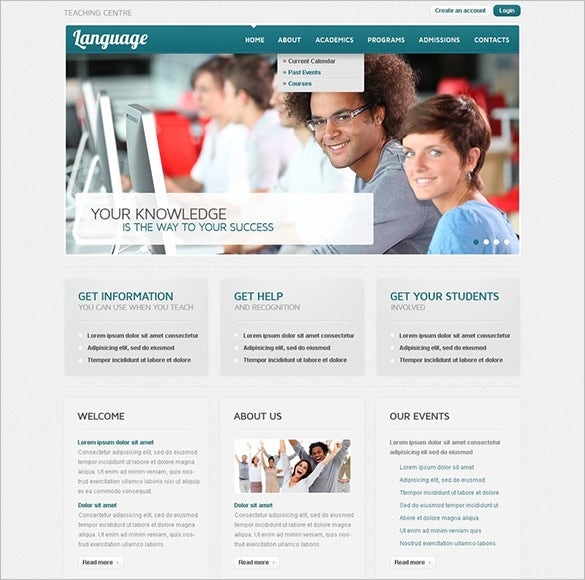 language school psd template