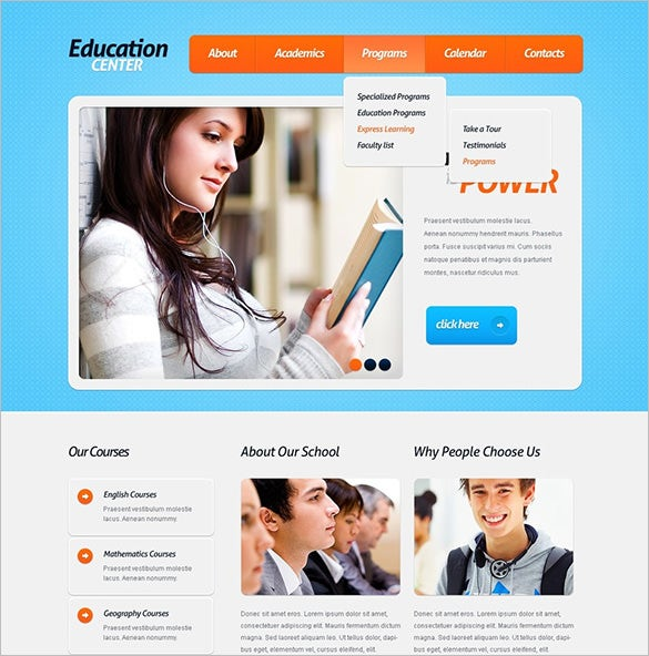 education psd template download