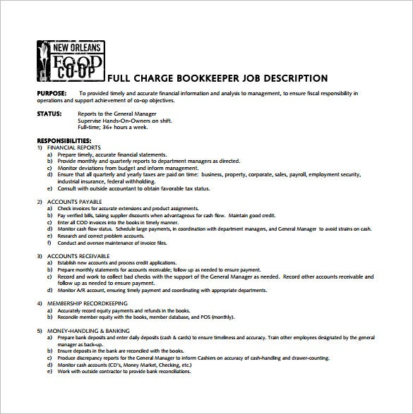 10 Bookkeeper Job Description Templates Free Sample Example – Job Description Form Sample