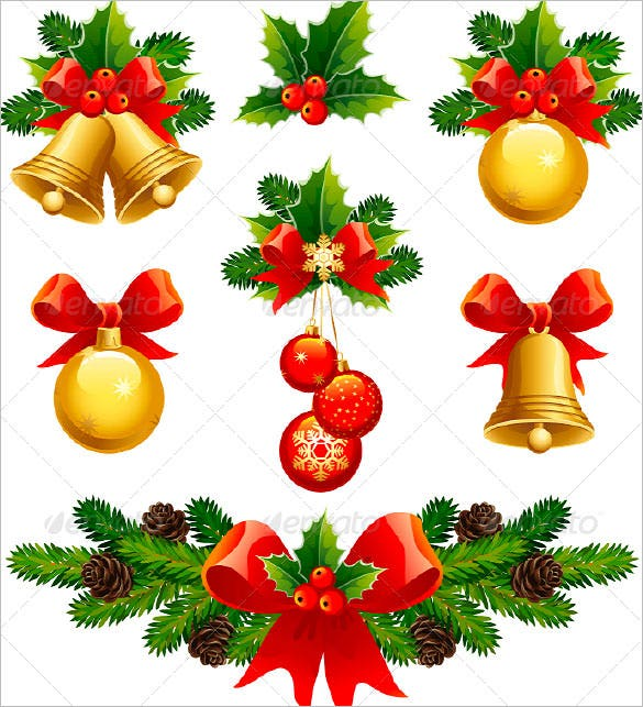 leaf christmas ornaments templas vector eps
