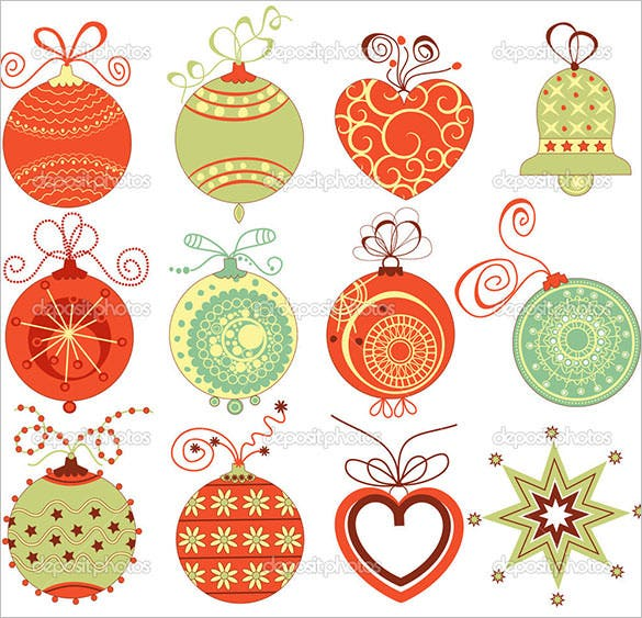 Download Retro Christmas Ornaments Set in Traditional Colors