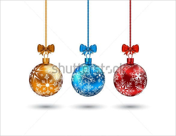 christmas multicolor balls with bows illustration