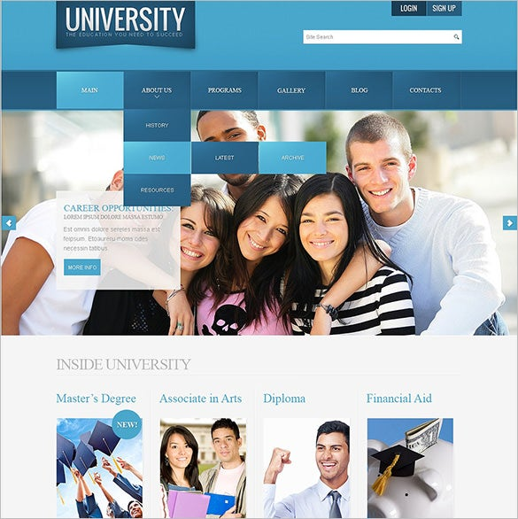university joomla template premium download