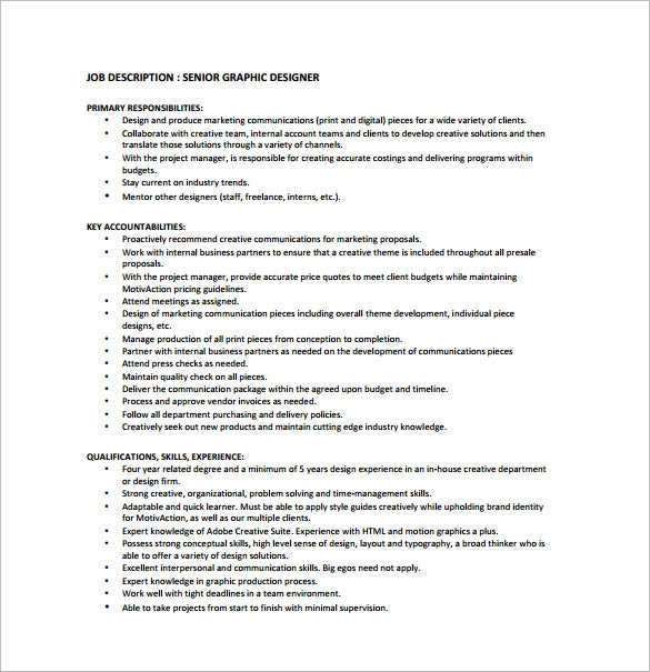senior graphic designer job description free pdf download