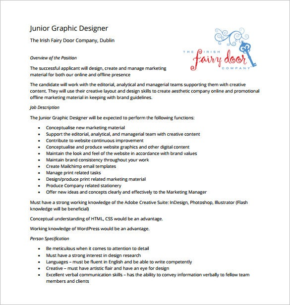 junior graphic designer job description free pdf template