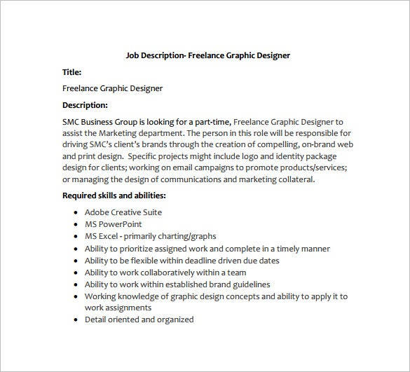 freelance graphic designer job description free pdf template