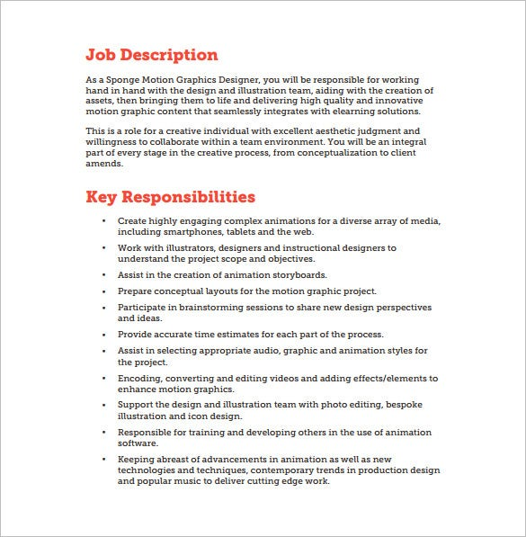 motion graphic designer job description pdf free download