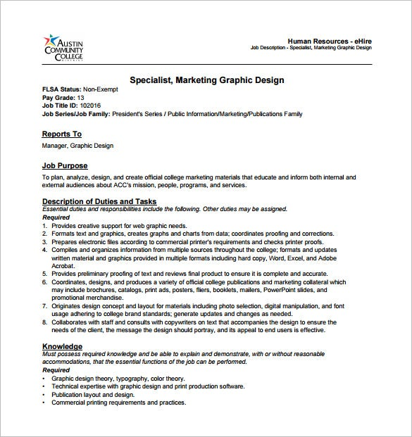 marketing graphic designer job description free pdf template