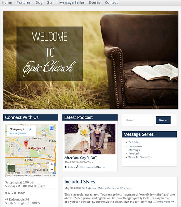 epic church wordpress template