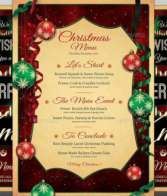 Christmas Menu Template – 30+ Free PSD, EPS, AI, Illustrator, Word ...