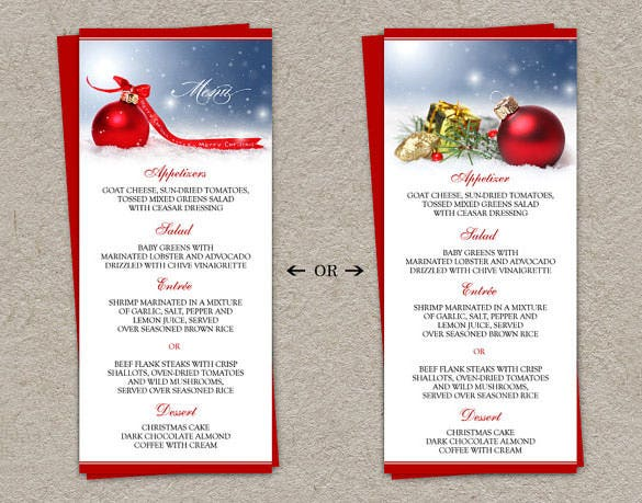 Christmas Menu Template   Free Psd Eps Ai Illustrator Word