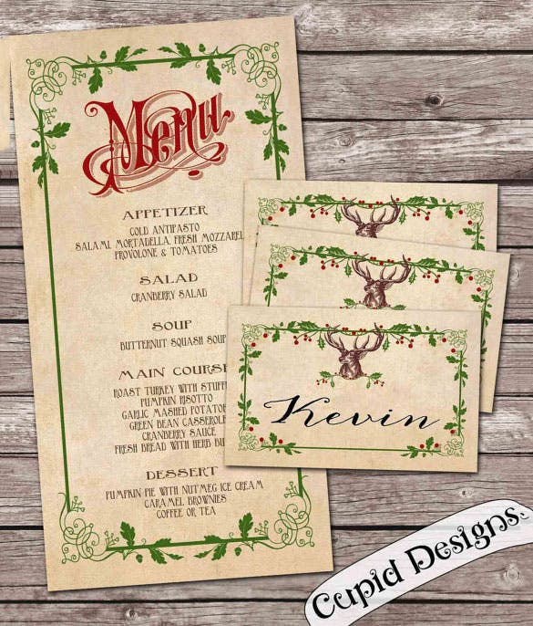 Free Printable Menu Place Cards Crafthubs – Free Christmas Dinner Menu Template
