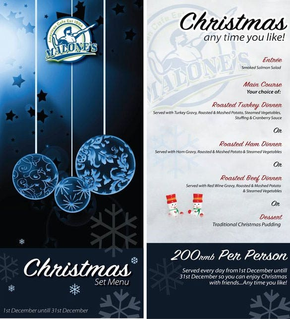 menu word template – Christmas Menu Word Template
