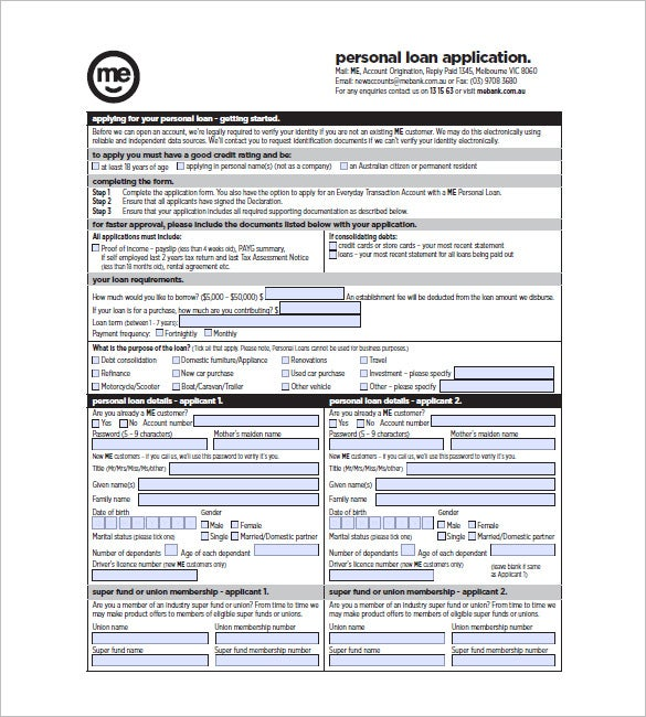 Personal Loan Application  Personal Loan Template Word