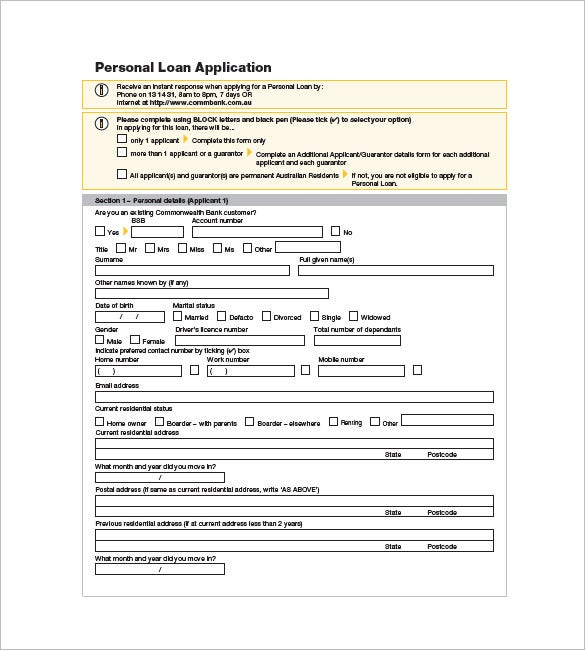 personal loan application commonwealth bank