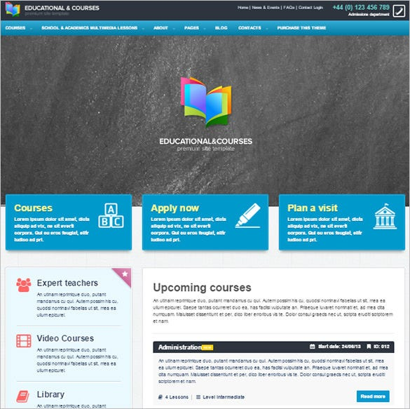 educational courses college drupal theme