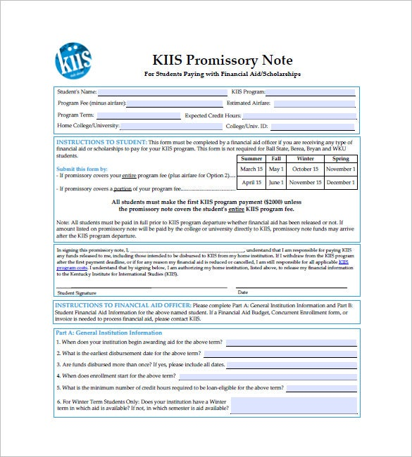 International Promissory Note Templates  Free Sample Example