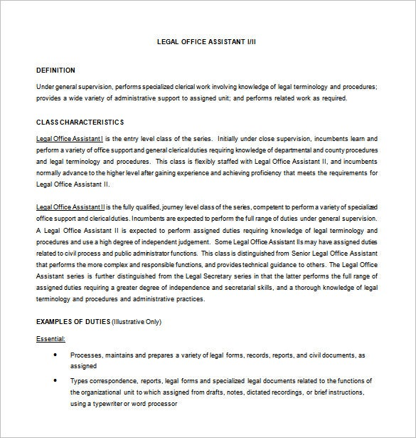 Office Assistant Job Description Template   Free Word Pdf