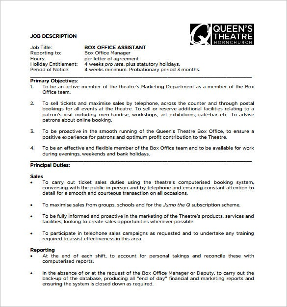 office assistant job description template free word - Office Assistant Job Description
