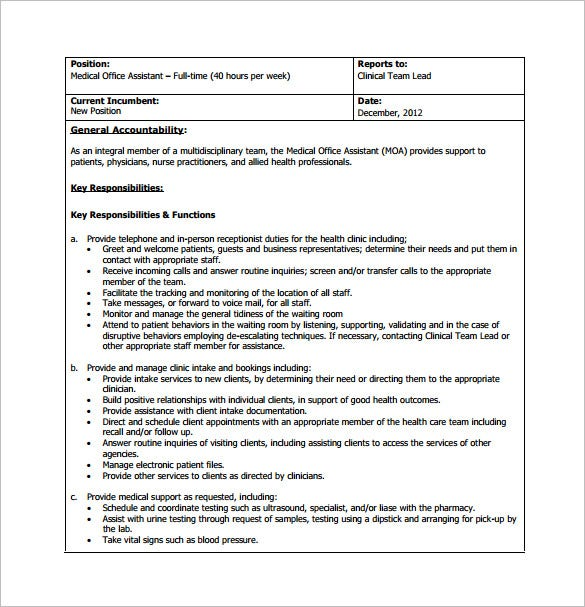 11+ Office Assistant Job Description Templates – Free, Sample