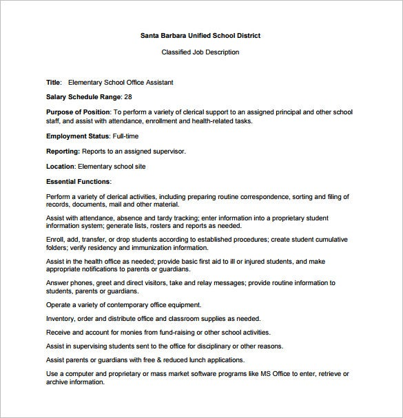 elementary school office assistant job description pdf free download