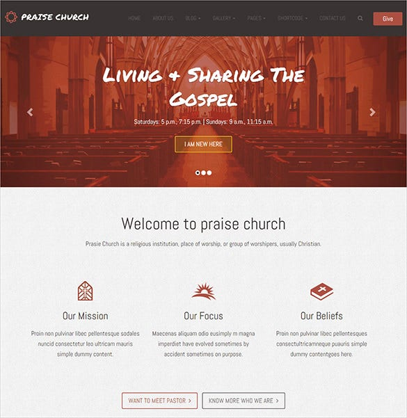 praise church html5 theme