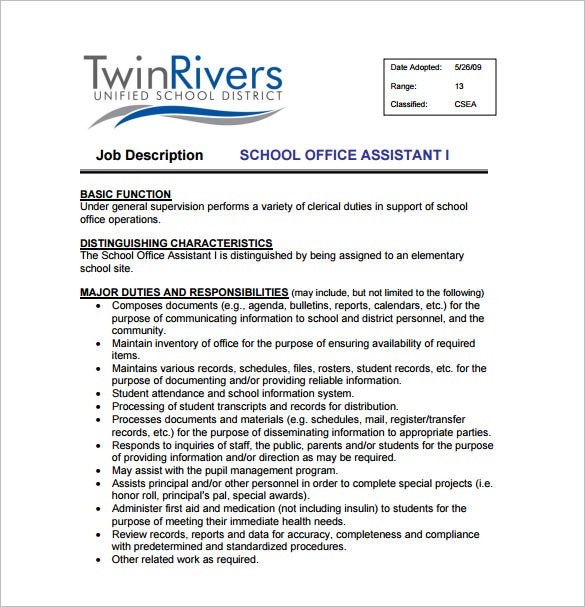 school office assistant job description sample pdf template - Office Assistant Job Description