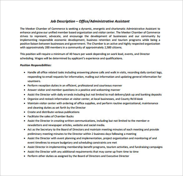 Office Assistant Job Description Template - 9+ Free Word, PDF ...