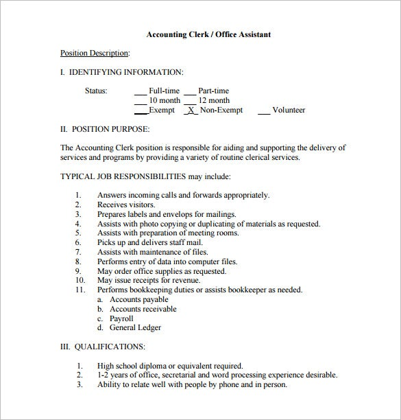 Exceptionnel Accounting Clerk Office Assistant Job Description Free PDF Format