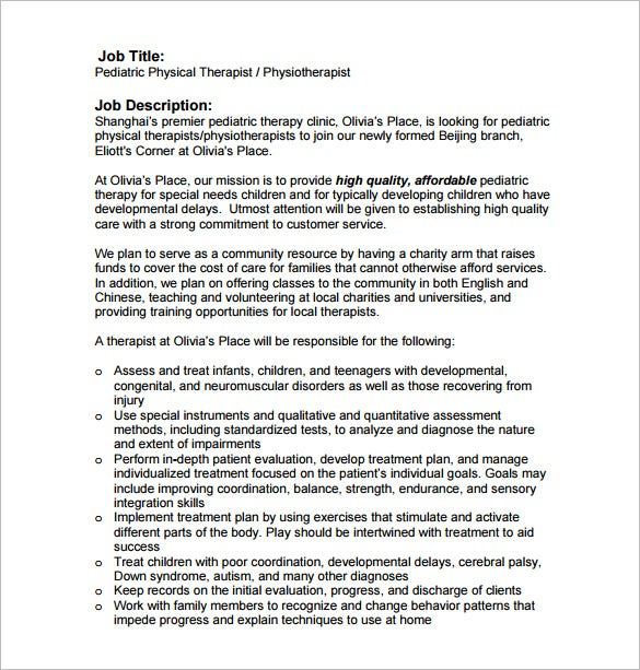 pediatric physical therapist job description free pdf download