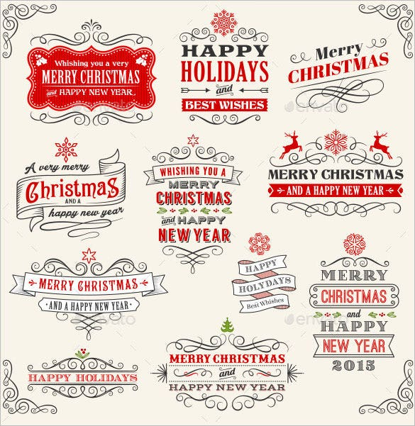 5 vector christmas label ai illustrator download