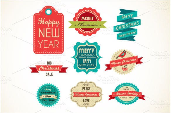 christmas vintage labels elements eps format