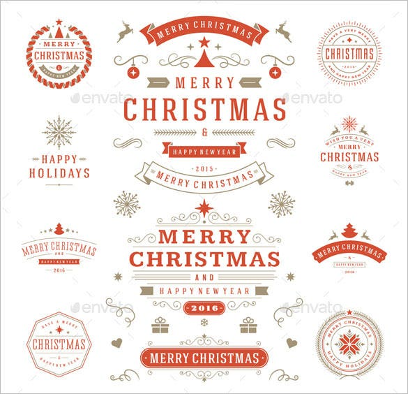 10 christmas labels and badge template ai format download