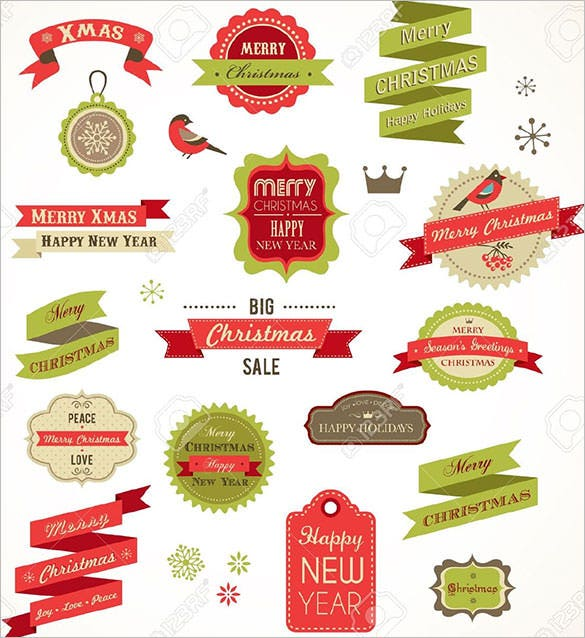 christmas vintage labels elements and illustrations