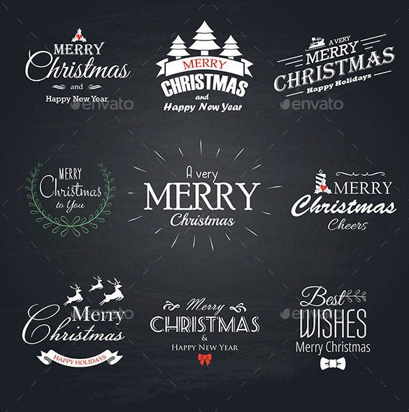 9 christmas labels set ai format download