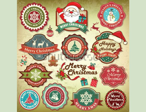 11 vintage retro grunge christmas labels collection