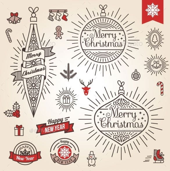 christmas set labels emblems download vector eps