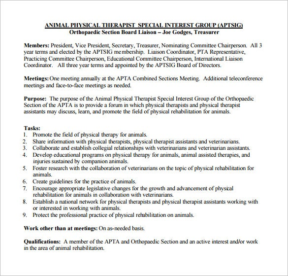 animal physical therapist job description pdf free download