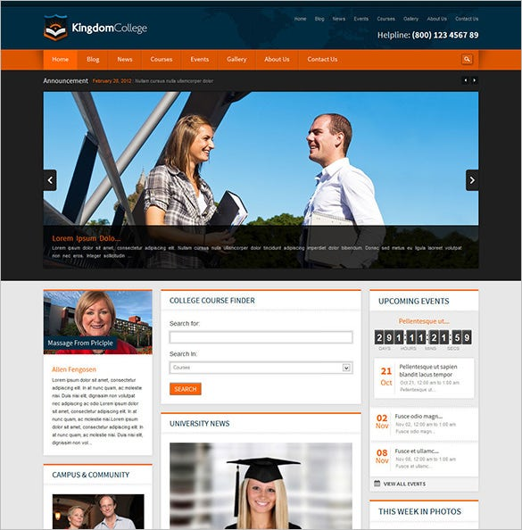 kingdom college educational website theme