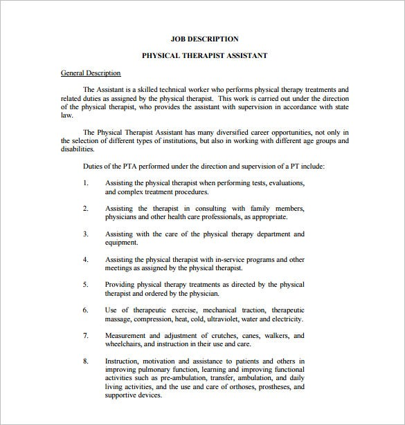 assistant physical therapist job description pdf free template