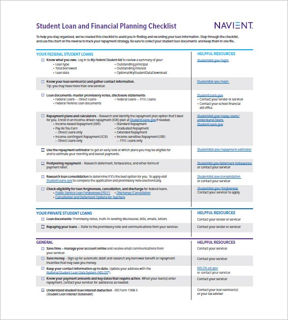student loan and financial planning checklist