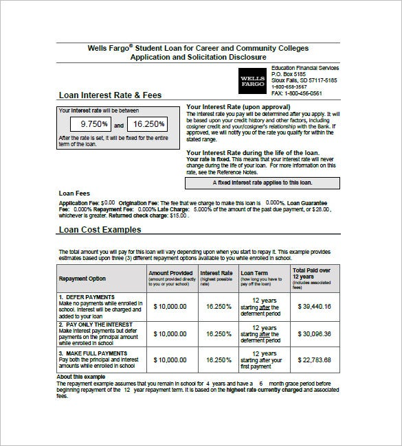 wells fargo student loan application and promissory note