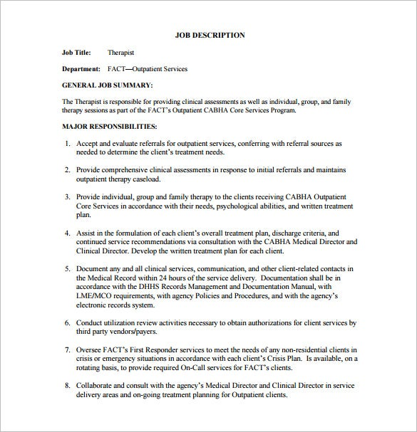 Physical Therapist Job Description Template   Free Word Pdf