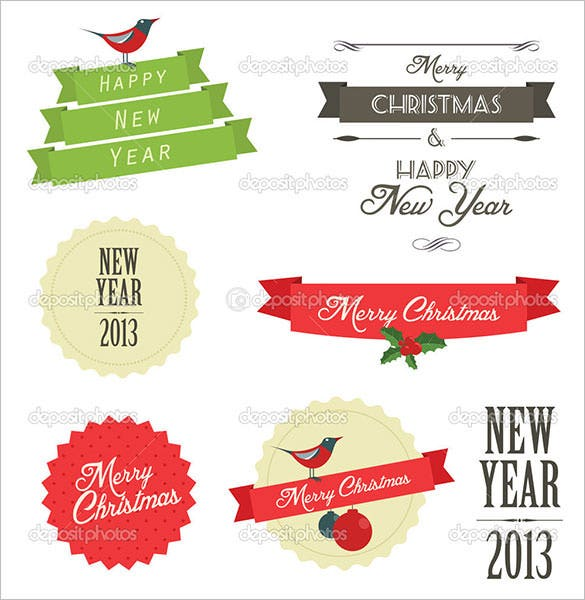 8 vintage christmas label template and badges download